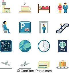 appartamento, aeroporto, vettore, icone