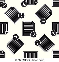 appartamento, affari, controllare modello, concept., seamless, illustrazione, marchio, fondo., vettore, lista, icona, icon., documento, bianco, design.