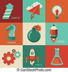 appartamento, affari, launc, icone, -, su, inizio, vettore