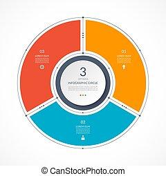 appartamento, affari, linea, style., 3, infographic, magro, sagoma, cerchio, presentazione, opzioni