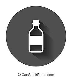 appartamento, affari, liquido, concept., illustrazione, plastica, acqua, vettore, lungo, bottiglia, soda, style., shadow., icona