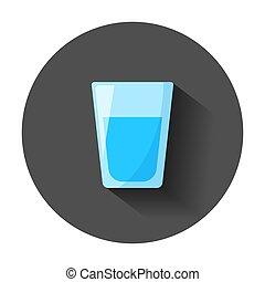 appartamento, affari, liquido, concept., illustrazione, style., vetro acqua, vettore, lungo, soda, shadow., icona