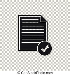 appartamento, affari, lista, concept., isolato, illustrazione, marchio, fondo., vettore, icona, icon., documento, assegno, trasparente, design.
