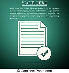 appartamento, affari, lista, concept., isolato, illustrazione, marchio, fondo., vettore, verde, icona, icon., documento, assegno, design.