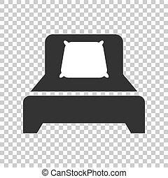 appartamento, affari, rilassare, divano, concept., isolato, letto, fondo., vettore, sonno, illustrazione, camera letto, style., icona