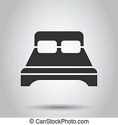 appartamento, affari, rilassare, divano, concept., letto, fondo., vettore, sonno, illustrazione, camera letto, bianco, style., icona