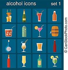 appartamento, alcool, 16, icone, icons., bibite