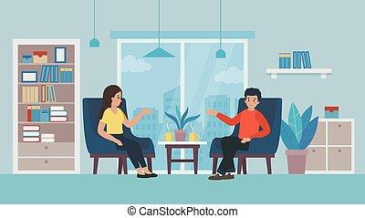 appartamento, altro, cityscape., vettore, room., giovane, discorso, casa, contro, uomo, bello, illustrazione, vivente, coppia, cartone animato, ciascuno, atmosfera, style., sedere, discutere