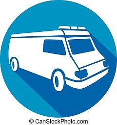 appartamento, ambulanza, furgone, icona