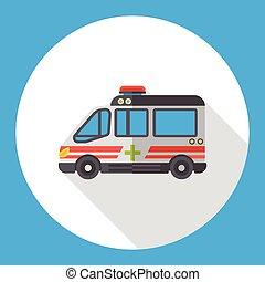 appartamento, ambulanza, trasporto, icona