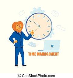 appartamento, amministrazione, illustrazione, vettore, tempo, cartone animato
