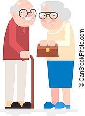 appartamento, amore, coppia felice, insieme, vettore, disegno, illustrazione, caratteri, vecchio, icona, adulto