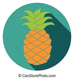 appartamento, ananas, colorful., icona