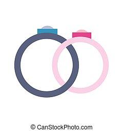 appartamento, anelli nozze, icona