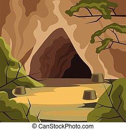 appartamento, antico, cave., illustrazione, vettore, cartone animato
