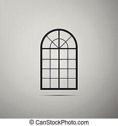 appartamento, arched, isolato, illustrazione, grigio, fondo., finestra, vettore, icona, design.