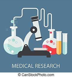 appartamento, assistenza sanitaria, e, ricerca medica, fondo., sanità, sistema, concept., medicina, e, chimico, engineering.