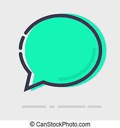 appartamento, astratto, verde, chiacchierata, icona