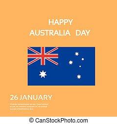 appartamento, australia, bandiera nazionale, giorno, scheda, celebrazione