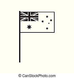 appartamento, australia, contorno, bandiera, nero, disegno, icona