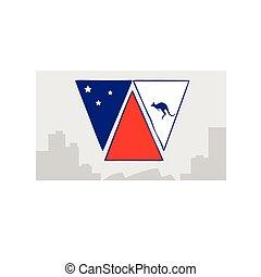 appartamento, australia, francobollo, canguro, illustrazione, giorno, bandiera, vettore, vacanza, nazionale