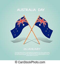 appartamento, australia, nazionale, due, bandierina ondeggiamento