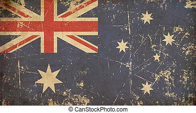 appartamento, australiano, invecchiato, bandiera