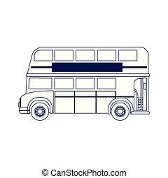 appartamento, autobus, londra, disegno, icona, classico