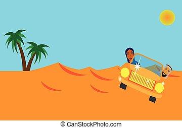 appartamento, automobile famiglia, arabo, disegno, safari, deserto