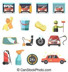 appartamento, automobile, icons., lavare