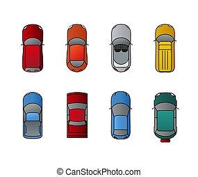 appartamento, automobili, cima, automobile., illustrazione, vettore, disegno, traffico automobile, vista, style., trasporto, set.