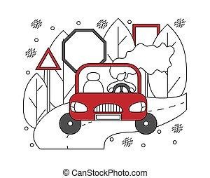 appartamento, automobilistico, concept., linee, illustrazione, automobile., ragazza
