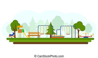 appartamento, bambini, gioco, illustration., vettore, stile, apparecchiatura campo giuoco