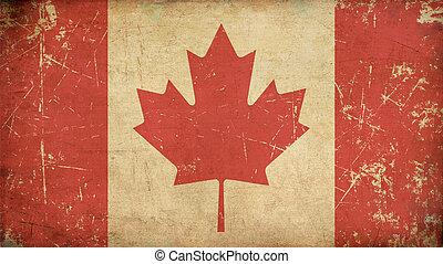 appartamento, bandiera, invecchiato, canadese