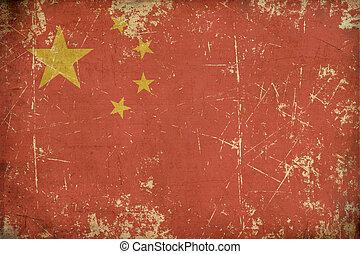 appartamento, bandiera, invecchiato, cinese