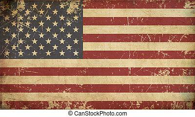 appartamento, bandiera, invecchiato, stati uniti