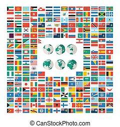 appartamento, bandiere, mondo
