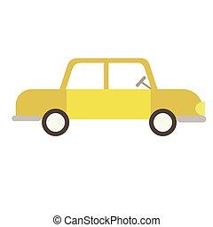appartamento, bianco, giallo, illustrazione, automobile