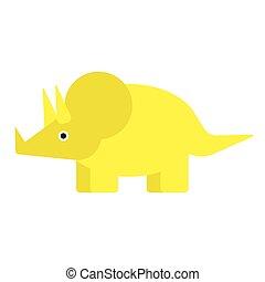 appartamento, bianco, giallo, illustrazione, dinosauro