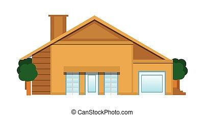 appartamento, bianco, isolato, illustrazione, casa