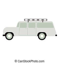 appartamento, bianco, safari, illustrazione, automobile