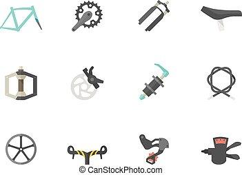 appartamento, bicicletta, icone, colorare, -, parti
