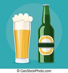 appartamento, birra, icona, bottiglia, vetro