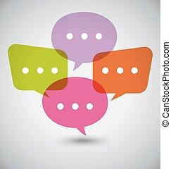 appartamento, bolle, discorso, colorito, dialogo