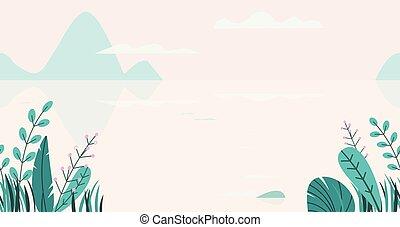 appartamento, border., fondo, natura, primavera, albero, seamless, illustrazione, fiori, fantasia, grass., vettore, estate, paesaggio, lago, tramonto, cartone animato, minimo, montagne