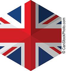 appartamento, bottone, bandiera, regno unito, esagono, icona
