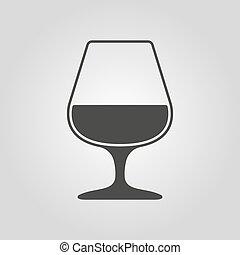 appartamento, brandy, simbolo., icon., vetro