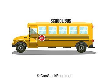 appartamento, bus scuola, illustrazione, vettore, disegno