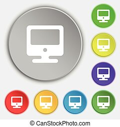 appartamento, buttons., monitor, simbolo, vettore, cinque, segno., icona