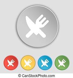 appartamento, buttons., simbolo, coltelleria, mangiare, vettore, cinque, segno., icona